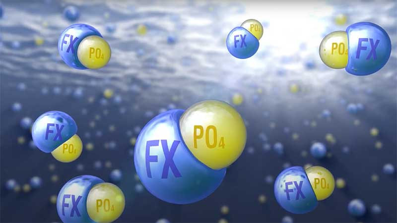 NeoWaterFX300 preferentially reacts with phosphorus to form a strong crystalline ionic bond, creating an insoluble precipitate: REPO4·H2O (Rhabdophane). NeoWaterFX300 achieves phosphorus removal at a 1:1 molar ratio of RE:PO4.