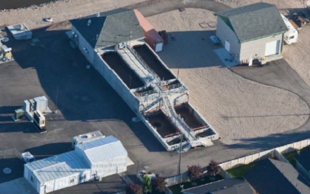 Phosphorus removal with Neo WaterFX 300. Aerial photo of Star Sewer Wastewater Treatment Plant