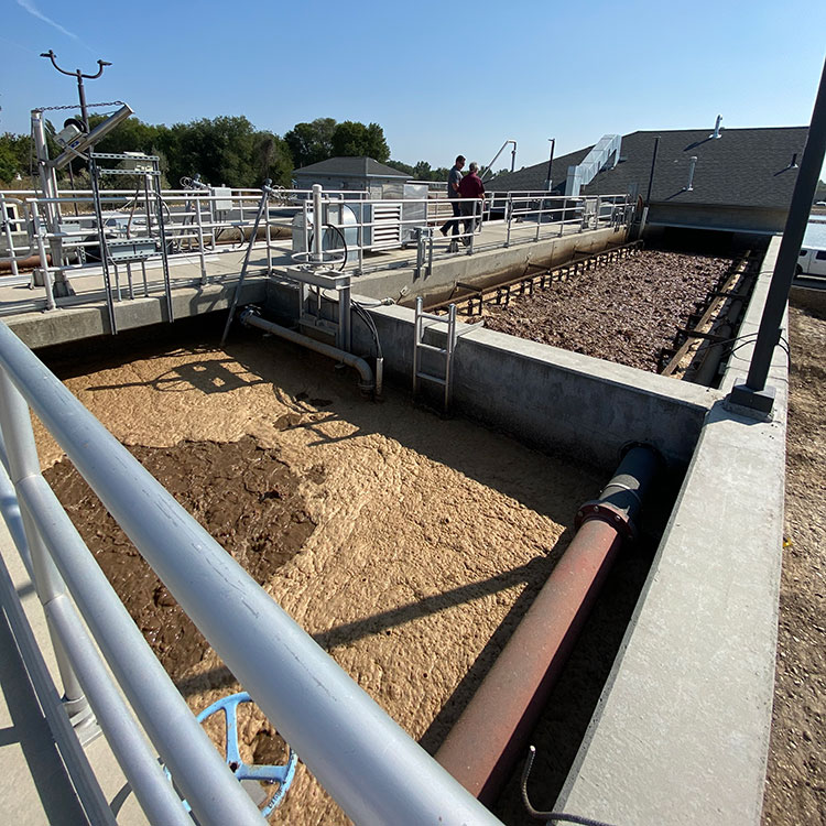Phosphorus removal from wastewater. Photo of sludge at wastewater facility