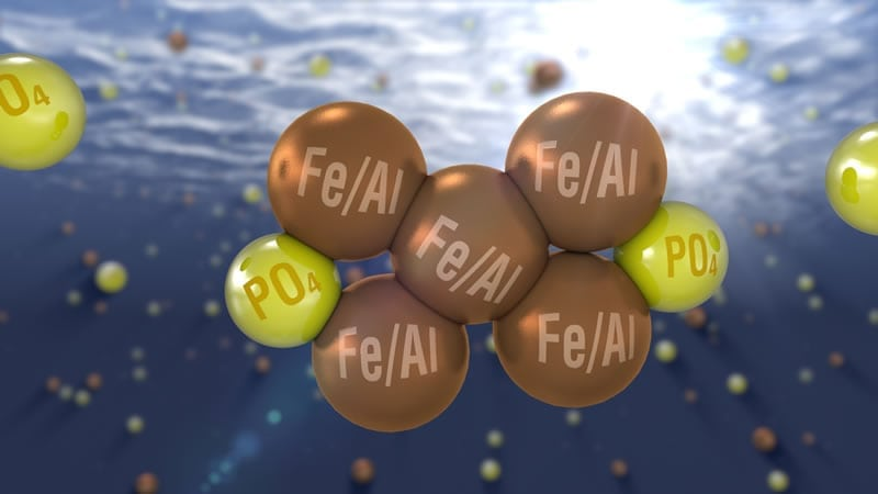 Image of Fe, Al and phosphorus molecules. Phosphorus removal from wastewater.